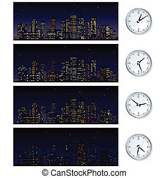 Night Time Skyline Set of Illustrations