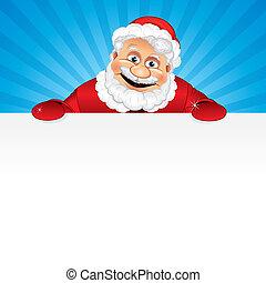 Cartoon Santa Claus with Sign