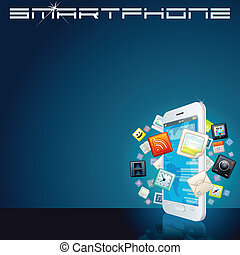 White Smartphone with App Icons. Background - White Smart...