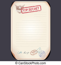 Old Top Secret Document on Table. Blank Template