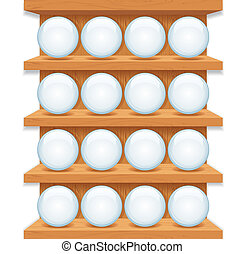 Wooden Shelf with Round Glass Buttons - Smart Phone...