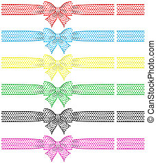Festive bows with ribbons - Vector illustration - collection...