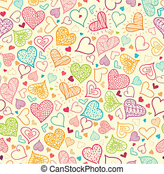 Doodle Hearts Seamless Pattern Background - Vector Doodle...