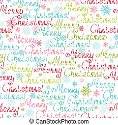 Merry Christmas Text Seamless Pattern Background - Vector...