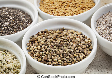 hemp seeds in a white ceramic bowl among other healthy seeds