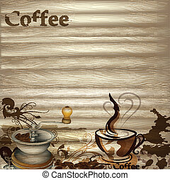 Coffee vector background with woode