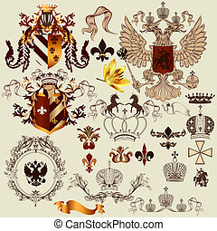 Collection of heraldry elements for your heraldic projects -...