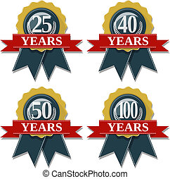 anniversary seal 25 40 50 100 years - seal and ribbon...