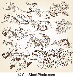 Set of vintage vector swirl ornamen - Vector set of swirl...