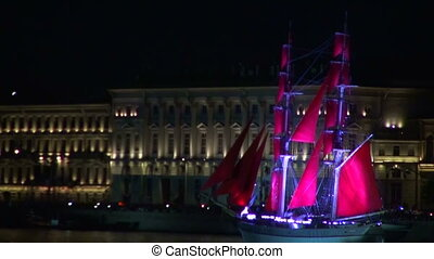 The sailing ship with the crimson sails. Red sails in St....