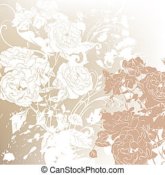 Wedding background with roses silhouettes - Vector hand...