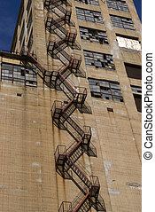 Abandoned-factory - An abandoned factory with a fire escape