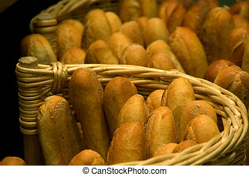Baguettes-standing - Fresh French baguettes in a basket