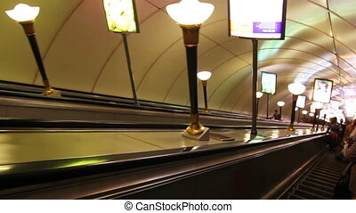 escalator in subway station in St. Petersburg Russia