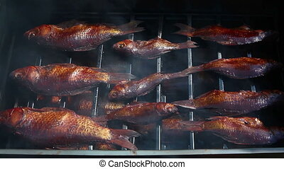 smoked fish in smoking shed