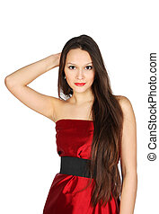 Young girl wearing red dress