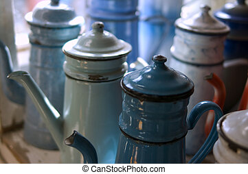 Old-Coffee-Pot - Enameled antique coffee pots arrangement