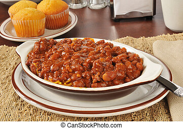 Bowl of chili con carne - A bowl of chili con carne with...