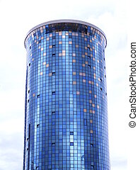 A cylindrical office building