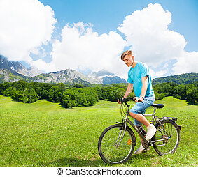 Young man on a bike