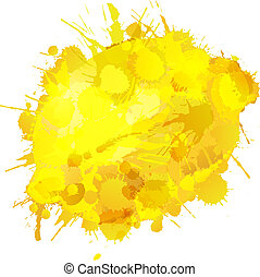 Lemon made of colorful splashes on white background
