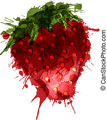 Strawberry made of colorful splashes on white background