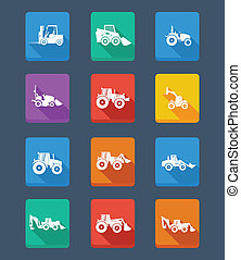 Vector collection tractor and silhouettes. icons - Vector...