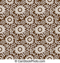 Seamless brown floral wallpaper - Seamless brown vector...