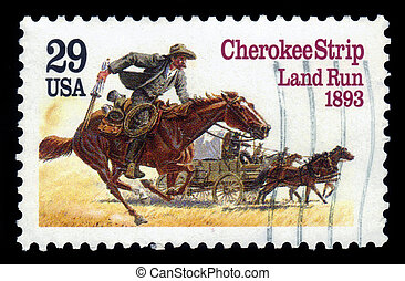 Homesteaders Racing to Cherokee Strip - UNITED STATES -...