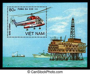 Puma Helicopter Sa 330 - Vietnam - CIRCA 1988: a stamp...