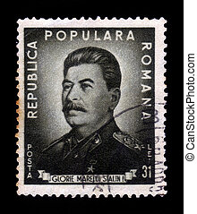 Joseph Stalin - Romania - CIRCA 1949: A stamp printed by...