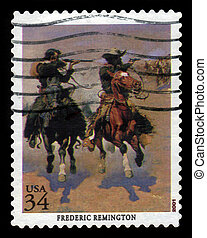picture by Frederic Remington - USA - CIRCA 2001: A stamp...