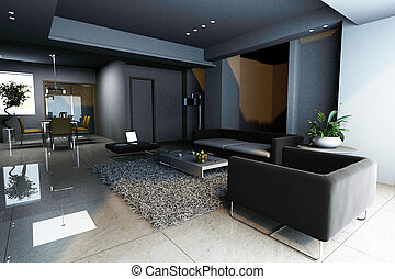 home interior 3d rendering - 3d rendering of home interior....