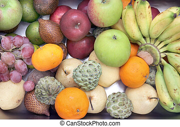 high angle tropical fruits