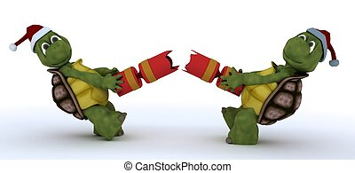 tortoise pulling christmas cracker - 3D render of a tortoise...