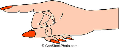 Woman hand pointing way