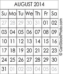 Planner Calendar August 2014 big eps file