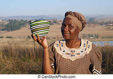 Traditional African Zulu woman - Traditional South African...