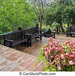 Garden bench for rest