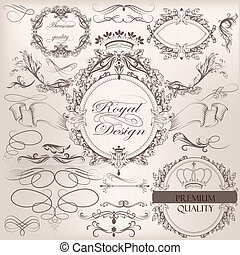 Collection of vintage vector design elements and page...