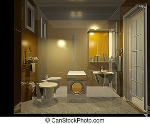 Bathroom interior - 3d rendering of a Bathroom interior
