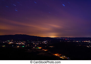 Long exposure of the Shenandoah Valley at night, from...