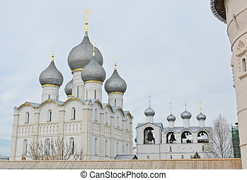 Rostov Kremlin, Russia - Assumption cathedral and bell tower...