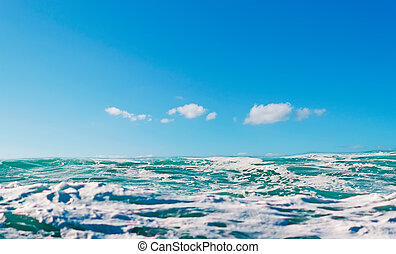 blue wave and sky - blue wave and clear sky