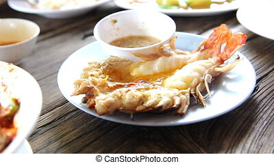 Grilled fresh big shrimp Macrobrachium rosenbergii at...