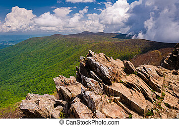 Early spring view of the Blue Ridge Mountains from Hawksbill Summit, Shenandoah National Park, Virginia