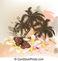 Summer background with palms - Outdoor vector illustration...