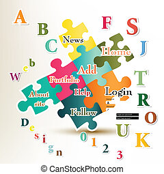 Web vector page design - Web page design with puzzles and...