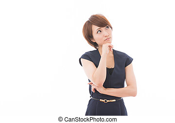 woman who is troubled - young attractive asian woman who is...