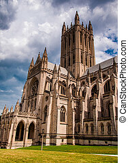 Summer storm clouds over the Washington National Cathedral,...